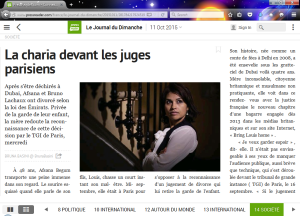 Le Journal du Dimanche article first published October 11, 2015